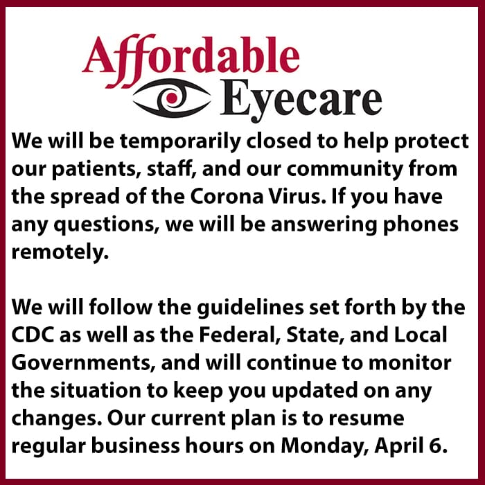 affordable eyecare closing temporarily oakville il
